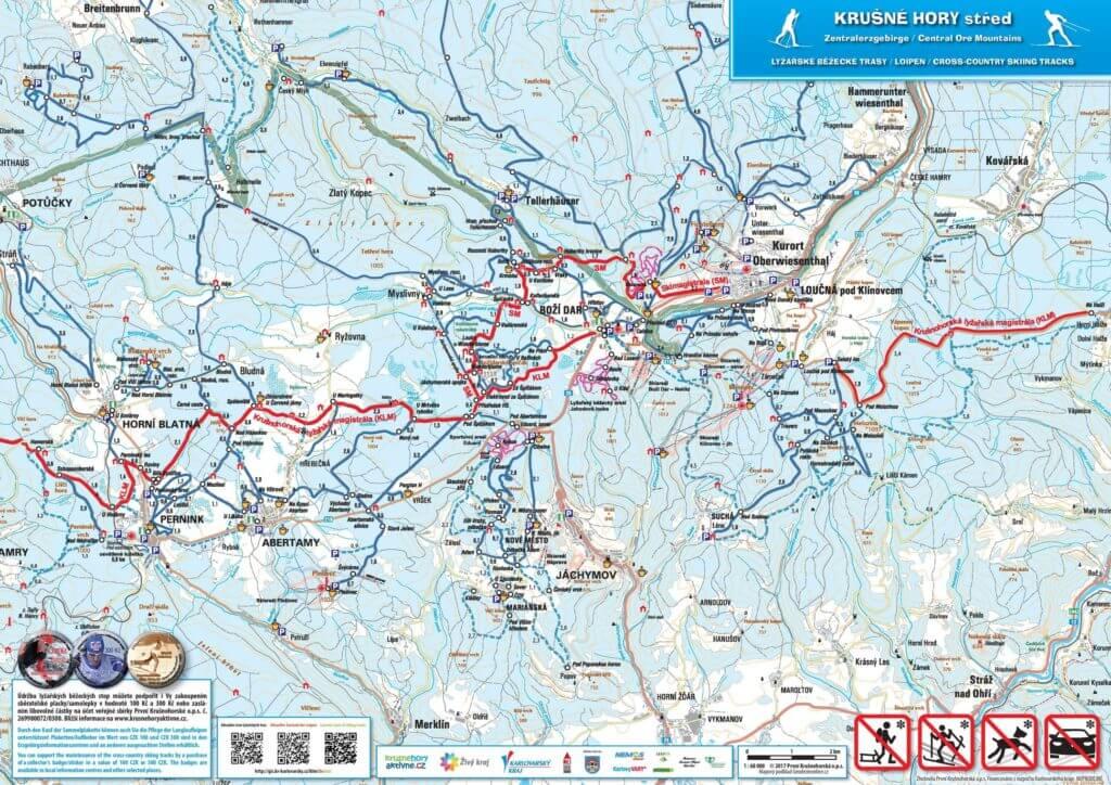 Mapa lyžařských tras - Krušné hory - střed