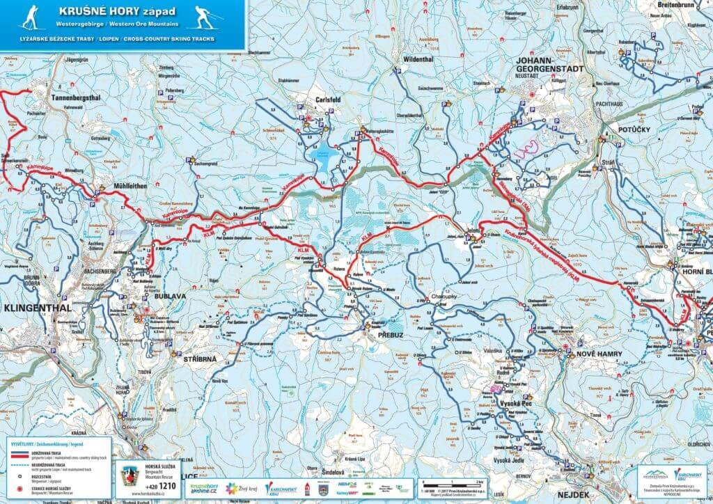 Mapa lyžařských tras - Krušné hory - západ